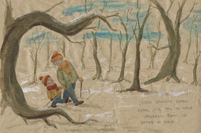 Rhael und Opa gehen im Wald spazieren