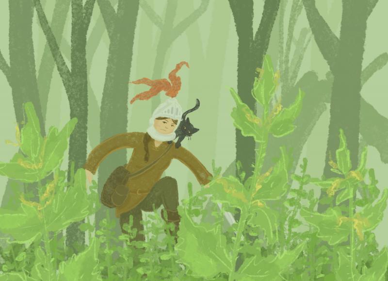 Die Ritterin stapft durch den Wald