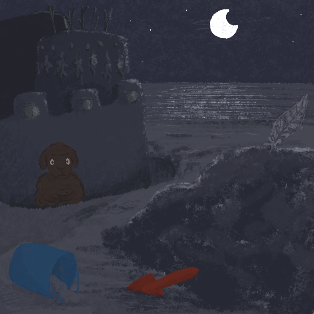 Illustration: José versteckt sich im Burggraben und hofft, dass ihn die Strandwache nicht entdeckt.