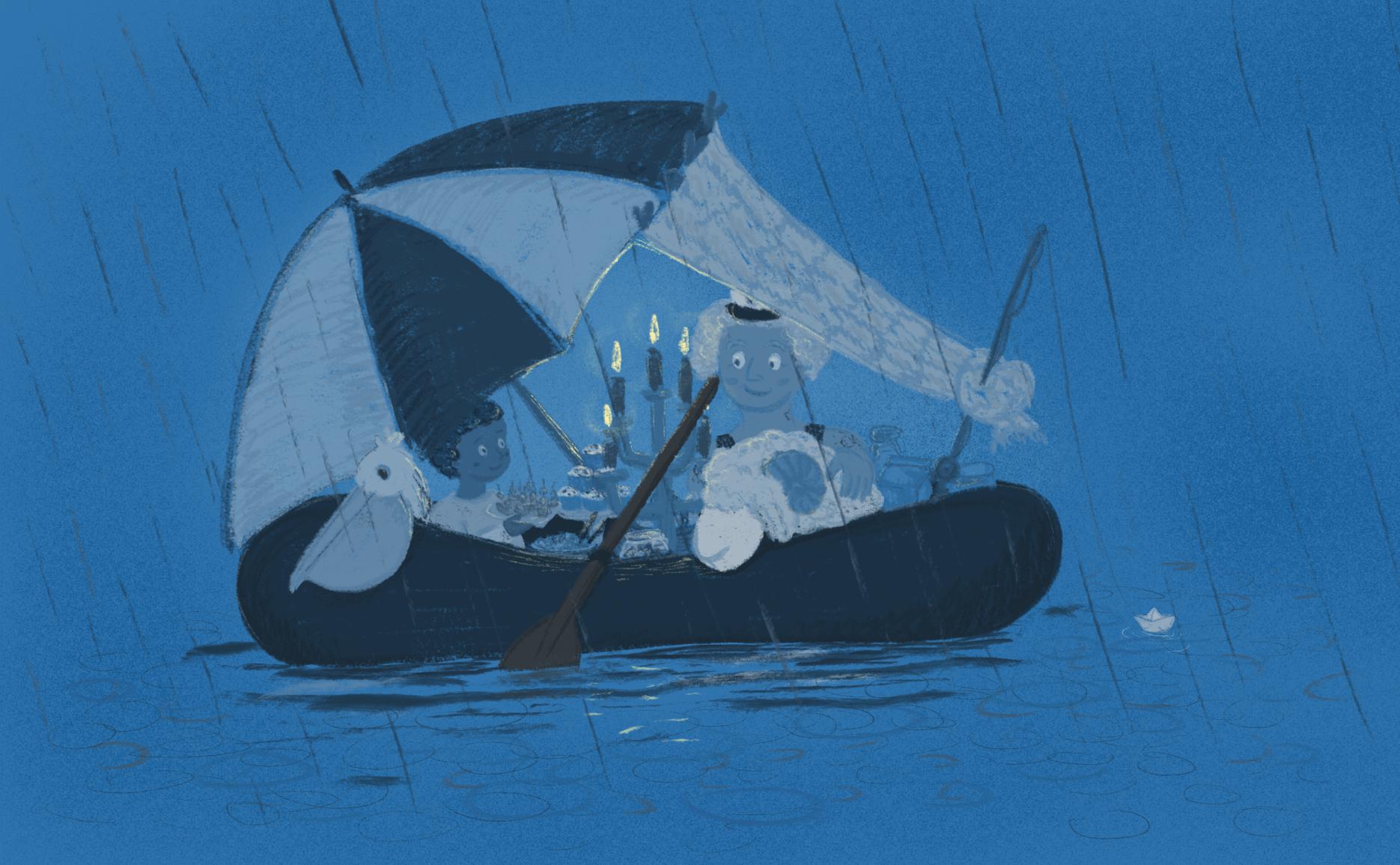 Alle sitzen im Schlauchboot unterm Sonnenschirm und picknicken bei Kerzenschein