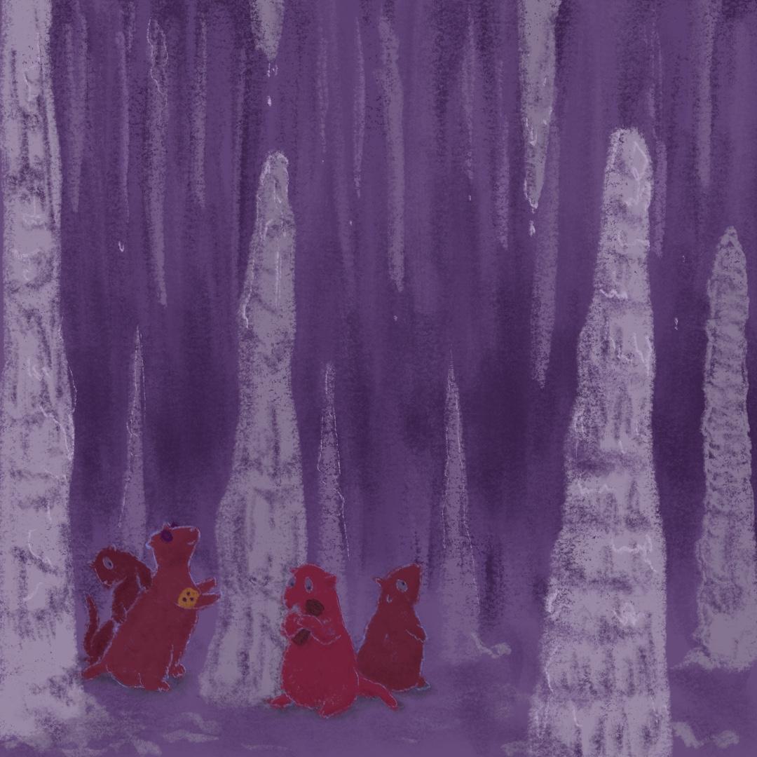 Vier Murmeltiere sitzen in einer Tropfsteinhöhle. Eins trägt eine gelbe Armbinde mit drei schwarzen Punkten und eine Sonnenbrille.